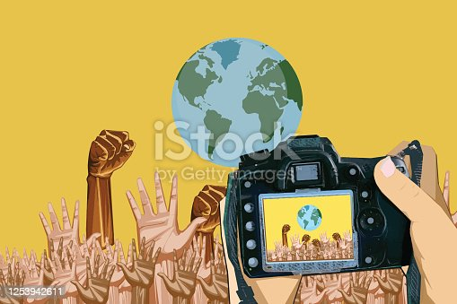 istock Crowd of protesters people fighting against racism 1253942611