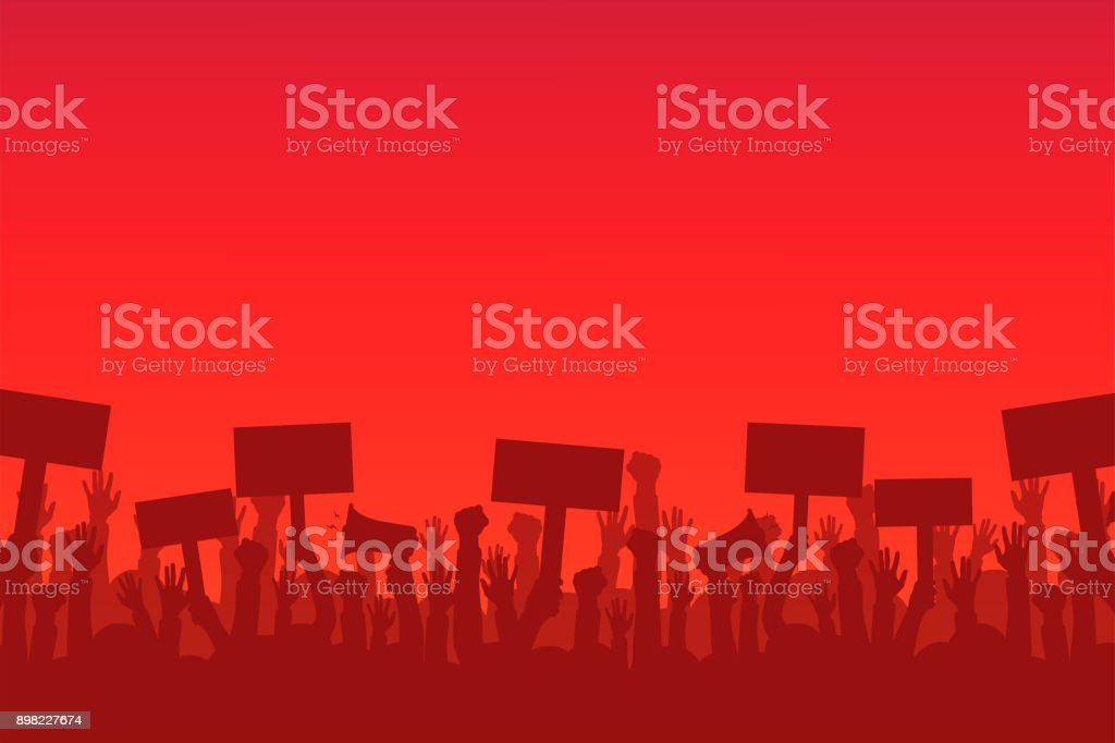 Crowd of protesters people. Silhouettes of people with banners and megaphones. Concept of revolution or protest