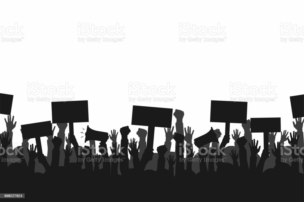 Crowd of protesters people. Silhouettes of people with banners and megaphones. Concept of revolution or protest vector art illustration
