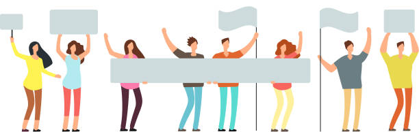 crowd of protesting people with banners, flags. voting students at demonstration. political meeting and protest vector concept isolated - trzymać stock illustrations
