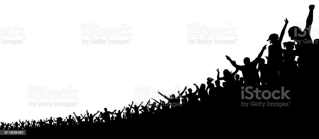 A crowd of sports fans. A crowd of people in the stadium. Silhouette vector vector art illustration