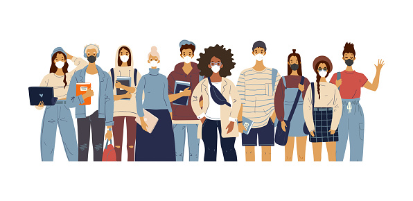 A crowd of standing people in medical masks. Male and female characters in modern clothes, flat design, cartoon style, students and teachers. Vector illustration.