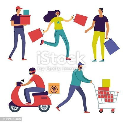 people with bags in shop colorful vector illustration in flat style isolated on white background