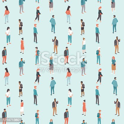 Social distancing. People keep distance from each other inpublic place. Flat vector seamless pattern