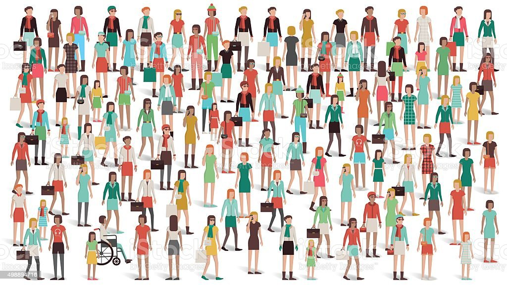 Crowd of women standing together vector art illustration
