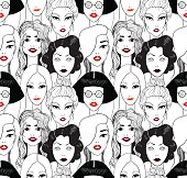 Crowd of women with red lips. Seamlesspattern. Fashion illustration.