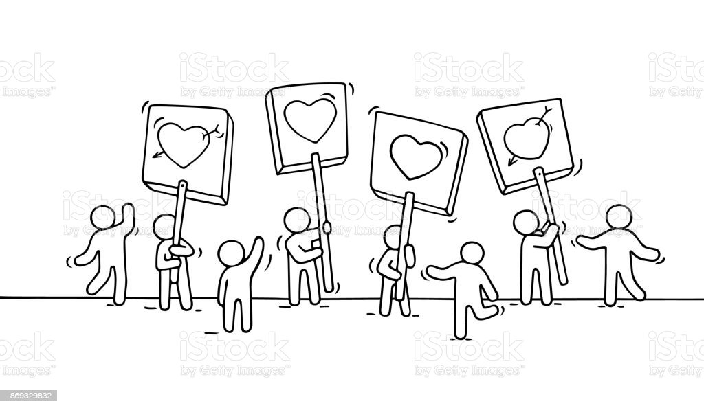 Crowd of working little people with heart sings. vector art illustration