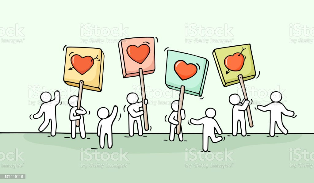 Crowd of working little people with heart sings vector art illustration