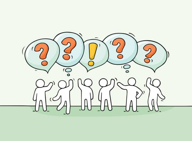 crowd of working little people with speech bubbles. - communication problems stock illustrations, clip art, cartoons, & icons