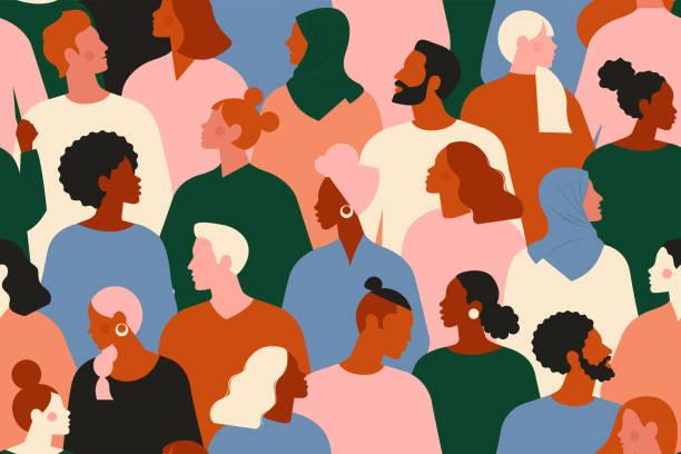 유행 힙스터 옷을 입고 젊은이와 노인 남성과 여성의 군중. 스타일리시한 사람들의 다양한 그룹이 함께 서 있습니다. 사회 또는 인구, 사회적 다양성. 평면 만화 벡터 일러스트레이션입니다. - 사람들 stock illustrations