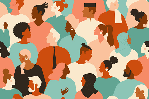 Crowd of young and elderly men and women in trendy hipster clothes. Diverse group of stylish people standing together. Society or population, social diversity. Flat cartoon vector illustration