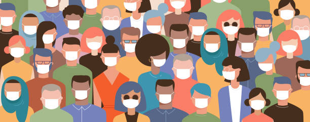 Crowd on the street wearing masks to prevent disease, coronavirus, flu, air pollution, contaminated air, world pollution. Vector illustration in a flat style Crowd on the street wearing masks to prevent disease, coronavirus, flu, air pollution, contaminated air, world pollution. Vector illustration in a flat style covid mask stock illustrations