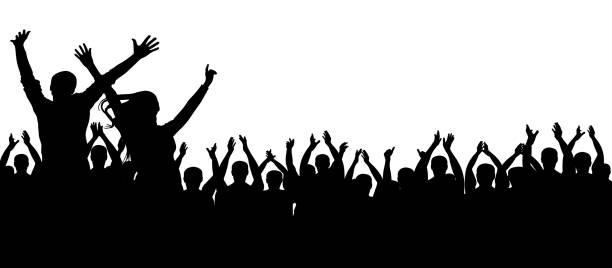 Crowd party silhouette Crowd party silhouette fan enthusiast stock illustrations