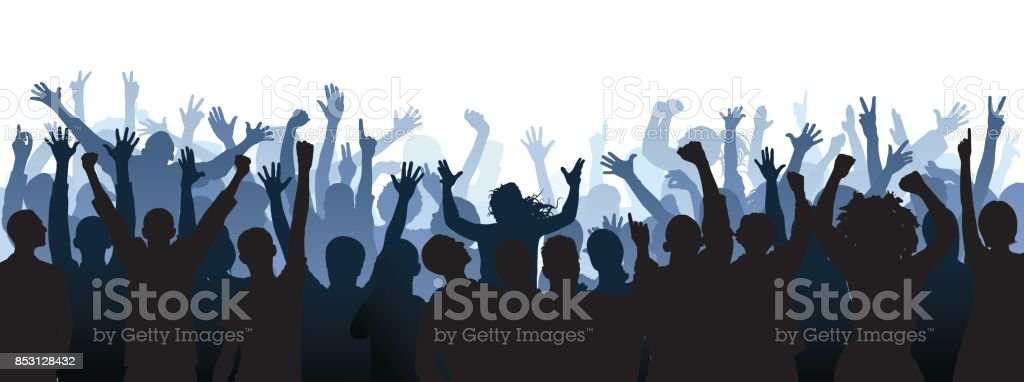 Crowd. People Are Complete (a Clipping Path Hides the Legs) vector art illustration