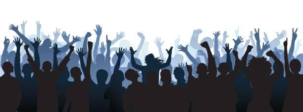 stockillustraties, clipart, cartoons en iconen met menigte. mensen zijn volledige (een uitknippad wordt verborgen van de benen) - cheering