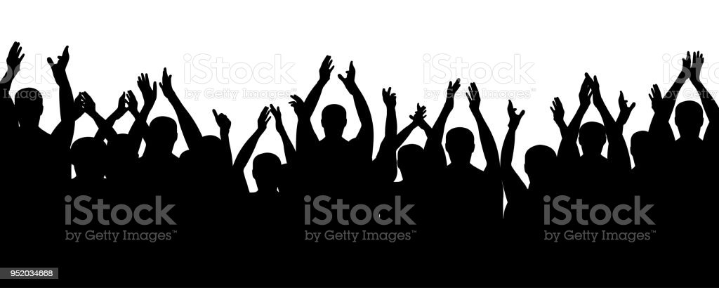 Crowd people cheering, cheer hands up. Applause audience. Cheerful mob fans applauding, clapping. Vector silhouette concert Crowd people cheering, cheer hands up. Applause audience. Cheerful mob fans applauding, clapping. Vector silhouette concert Adult stock vector