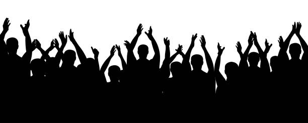 ilustrações de stock, clip art, desenhos animados e ícones de crowd people cheering, cheer hands up. applause audience. cheerful mob fans applauding, clapping. vector silhouette concert - adeptos