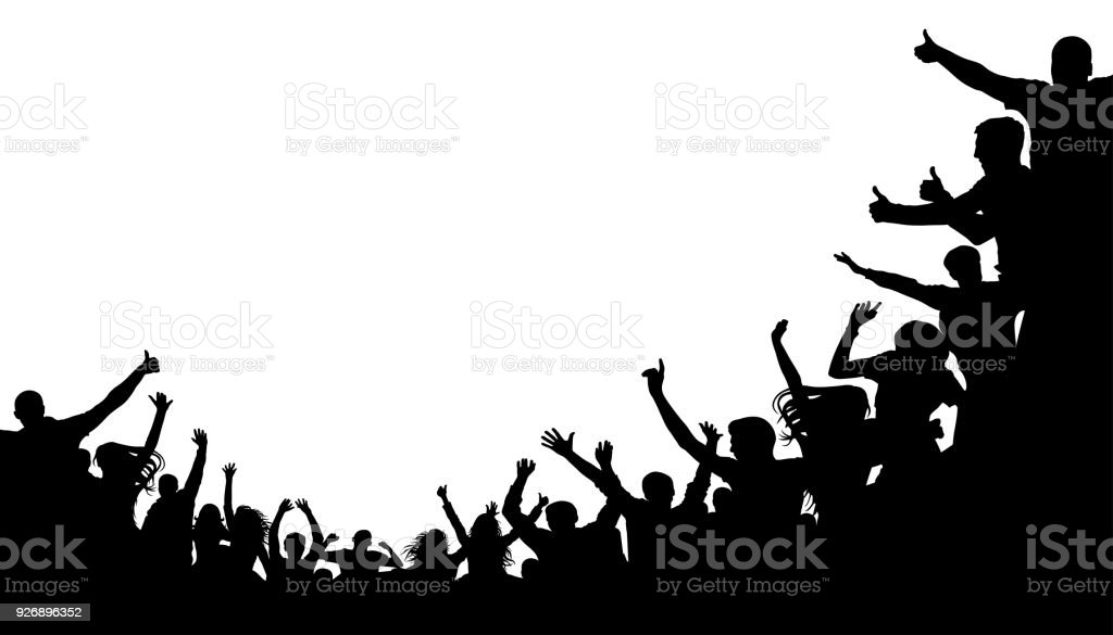Crowd people, fan cheering. Illustration soccer background, vector silhouette. Mass mob at the stadium Crowd people, fan cheering. Illustration soccer background, vector silhouette. Mass mob at the stadium Adult stock vector