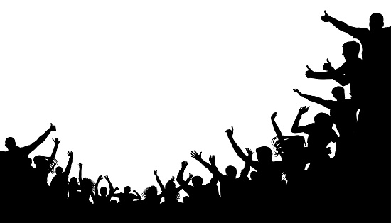 Crowd people, fan cheering. Illustration soccer background, vector silhouette. Mass mob at the stadium