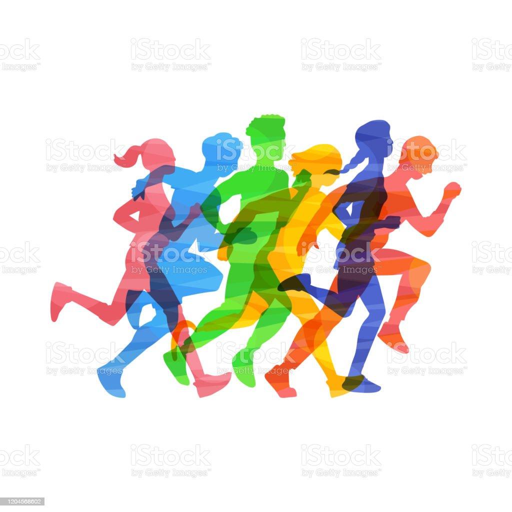 Crowd people run marathon vector illustration in color abstract effect isolated. - Grafika wektorowa royalty-free (Abstrakcja)