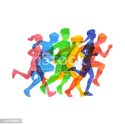istock Crowd people run marathon vector illustration in color abstract effect isolated. 1204568602