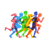 Crowd of young people running marathon, vector illustration in colorful abstract smash effect isolated on white background. Sport and healthy active lifestyle.