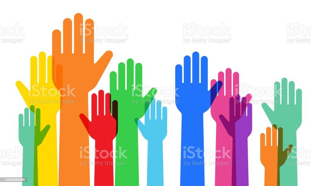 A crowd raising hands vector art illustration