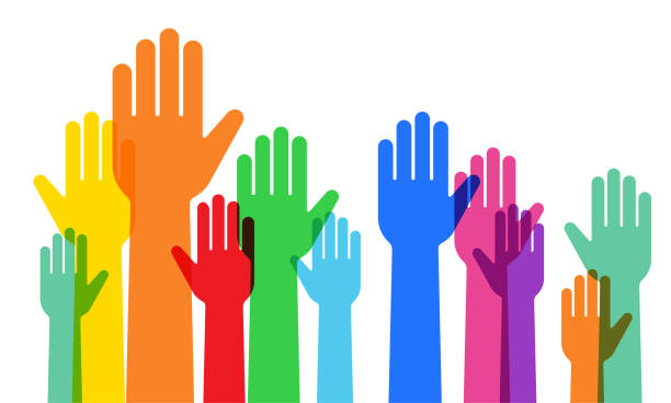 a crowd raising hands - diversity stock illustrations
