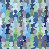 Crowd- seamless pattern,