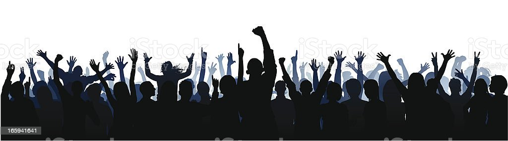 Crowd (60 Complete People- Clipping Path Hides the Legs), Seamless royalty-free stock vector art