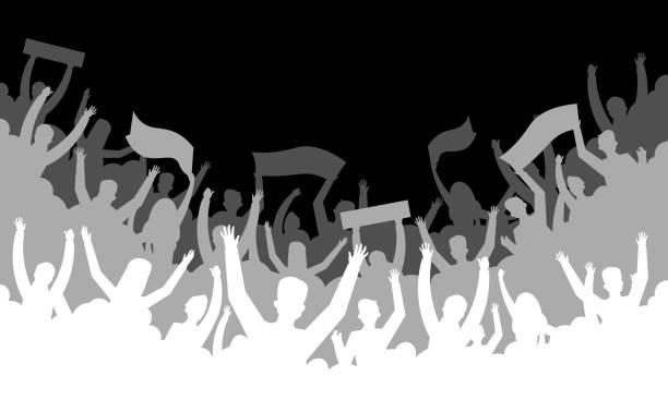 Crowd silhouette background. Soccer fan people baseball basketball football handball hockey audience tribune. Vector concert banner Crowd silhouette background. Soccer fan people baseball basketball football handball hockey audience tribune. Vector concert banner hall bleachers crowd of people stock illustrations