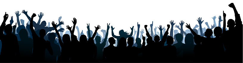 Crowd Silhouette (All People Are Complete- a Clipping Path Hides the Legs)