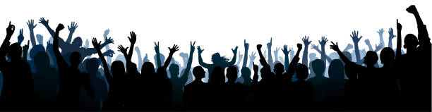 Crowd Silhouette (All People Are Complete- a Clipping Path Hides the Legs) vector art illustration