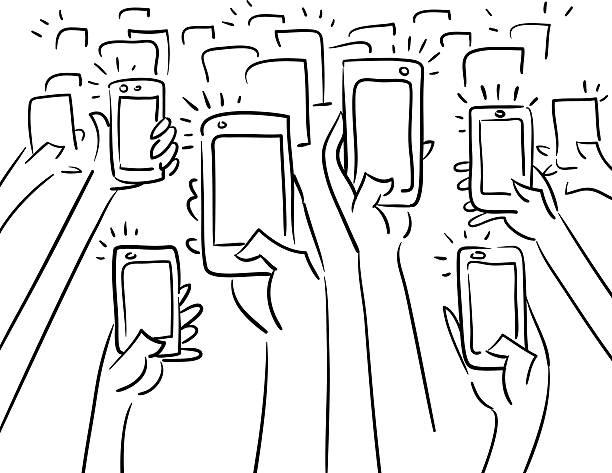 menschenmenge fotos - selfie stock-grafiken, -clipart, -cartoons und -symbole