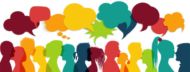 Crowd talking. Group of multi-ethnic and multicultural people who speak. Communication between multiracial people. Colored profile silhouette. Communicate social networks. Speaking. Speech bubble Possible use for social media communication concept. Chat, dialogue or communication in the workplace or between friends. Interact in the virtual community talking stock illustrations