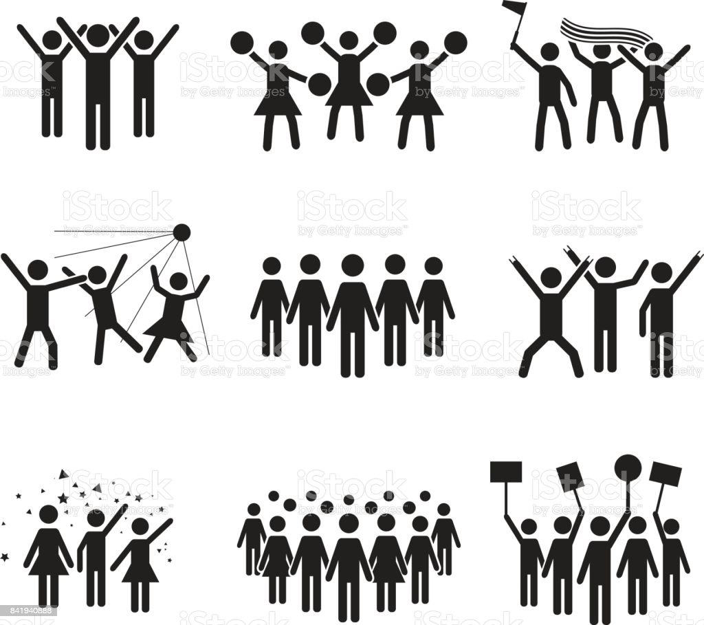 Crowd vector icon set design, illustrations of various groups of people vector art illustration