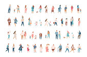 Different People big vector set. Male and female flat characters isolated on white background.