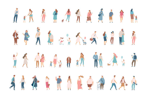 Crowd. Different People big vector set. Male and female flat characters isolated on white background. parenting stock illustrations
