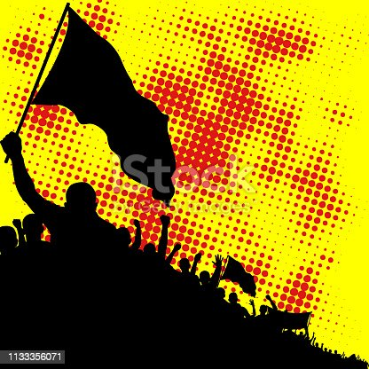 yellow and red background with crowd silhouette