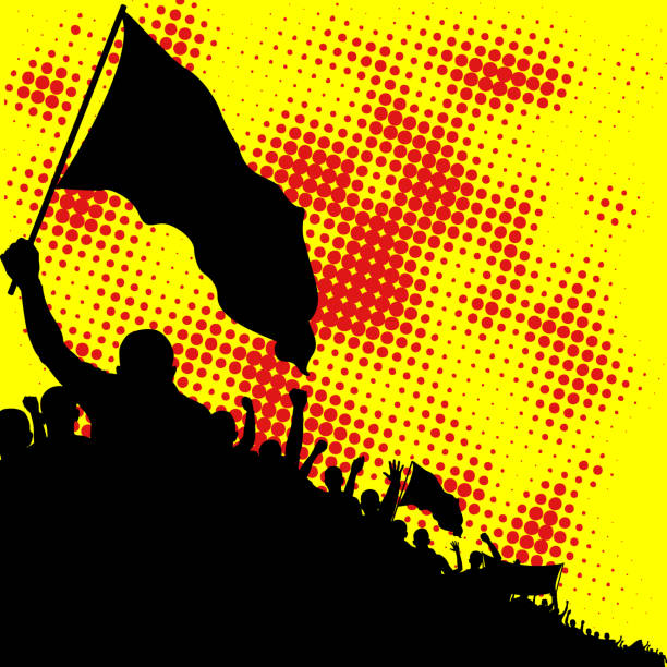 crowd yellow and red background with crowd silhouette contour drawing stock illustrations