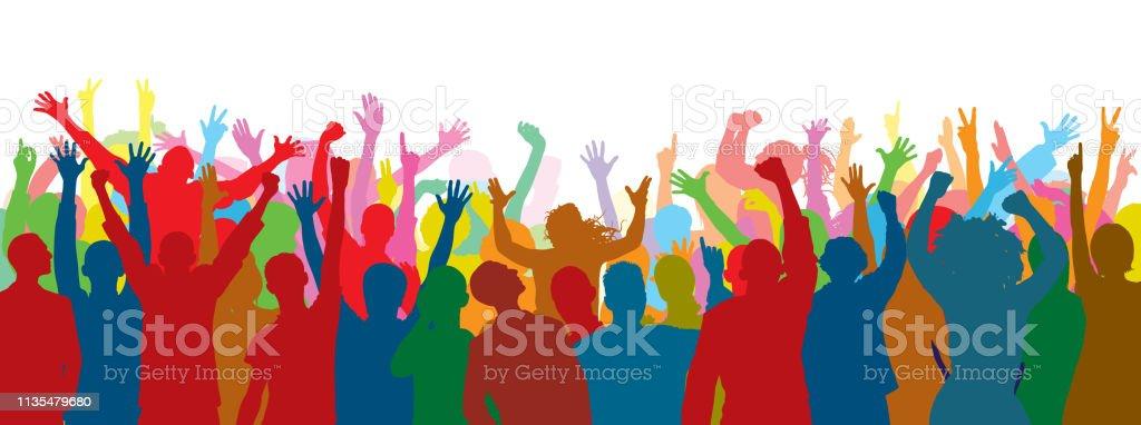 群集 (人が完全である-クリッピングパスは脚を隠します) - お祝いのロイヤリティフリーベクトルアート