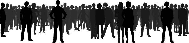Crowd (All People Are Complete and Moveable) vector art illustration