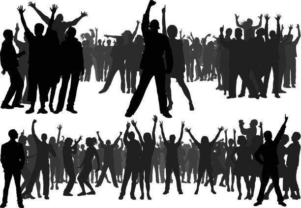 Crowd (All People Are Complete and Moveable) Crowd. All people are complete and moveable. party conference stock illustrations