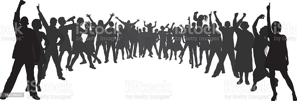 Crowd (People Are Complete, Moveable and Detailed) vector art illustration