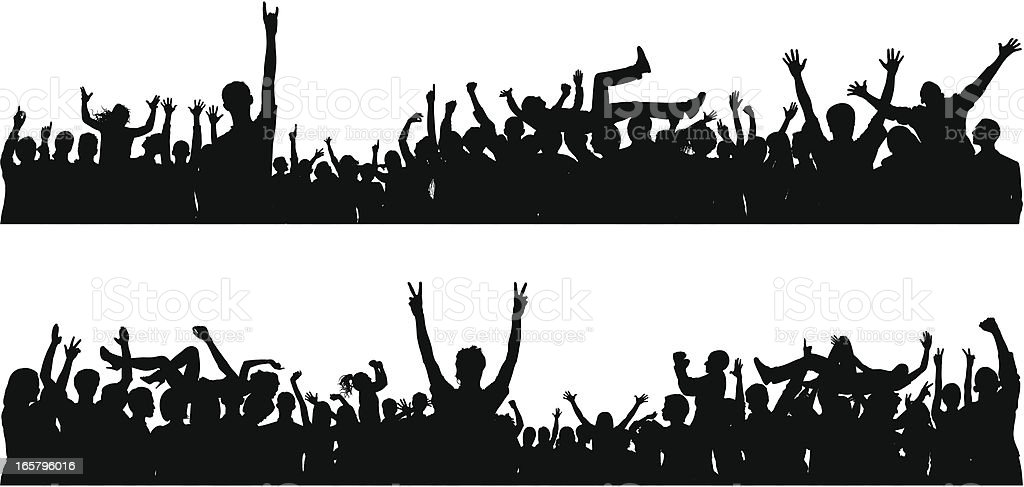 Crowd (82 Detailed Silhouettes, Complete Down to the Waste) royalty-free crowd stock vector art & more images of arms raised