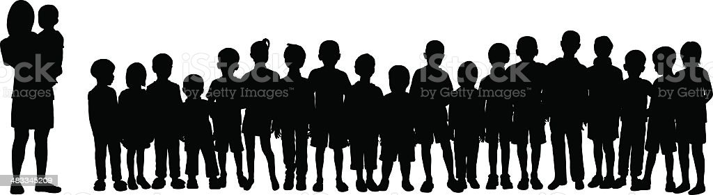 Crowd (Silhouettes Are Moveable and Complete) vector art illustration