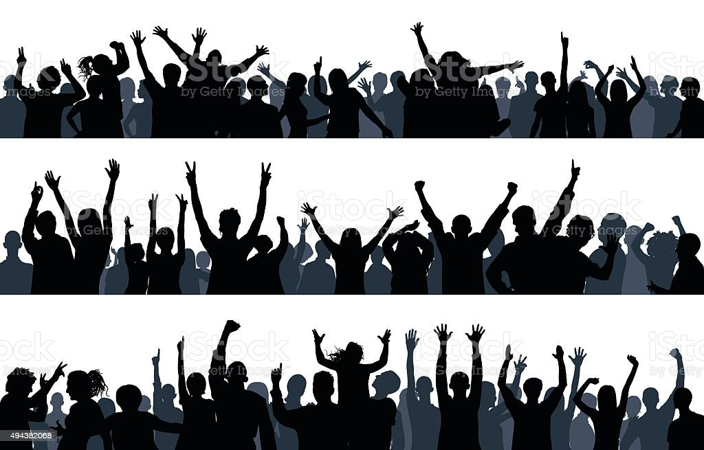 Crowd (85 Complete People- a Clipping Path Hides the Legs) vector art illustration
