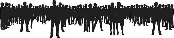Crowd (Complete, Moveable, Separate, Detailed People) vector art illustration