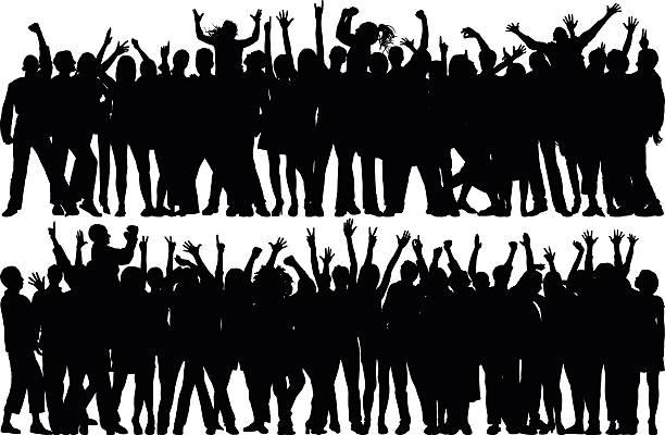 illustrazioni stock, clip art, cartoni animati e icone di tendenza di crowd (all complete, moveable, detailed people) - concerto