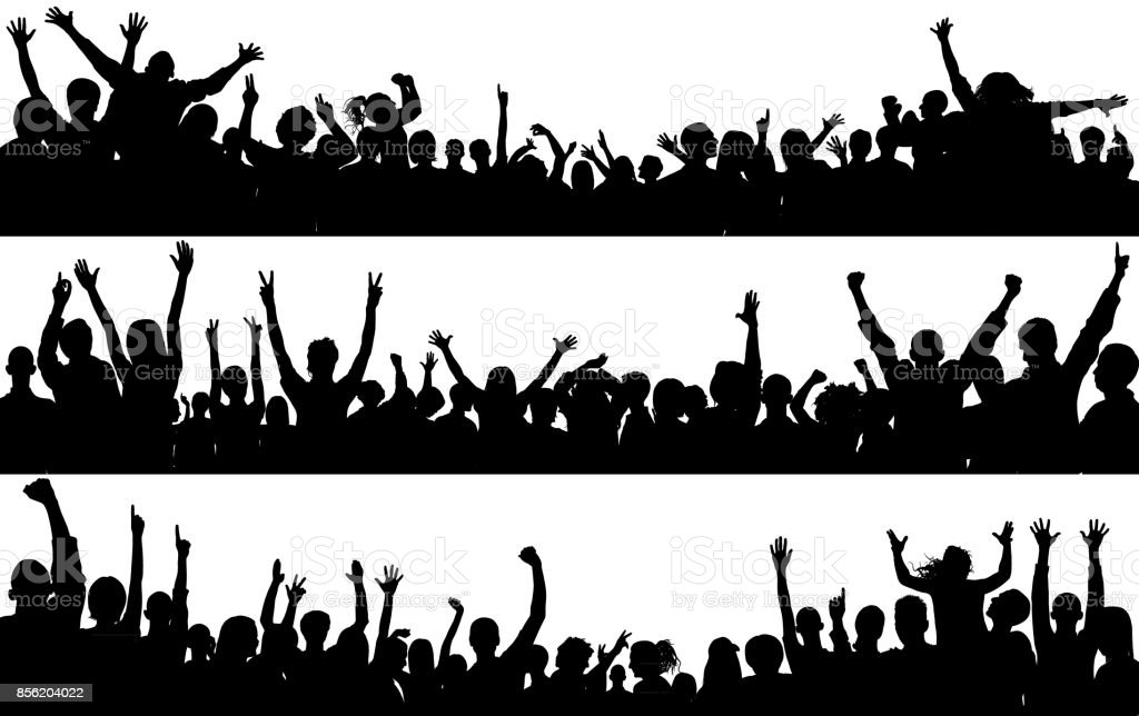 Crowd (People Are Complete- a Clipping Path Hides the Legs) vector art illustration